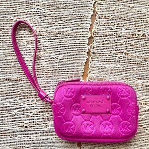 Michael Kors hot pink clutch wallet